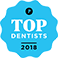 Top Dentists 2018 logo in blue, white, and black